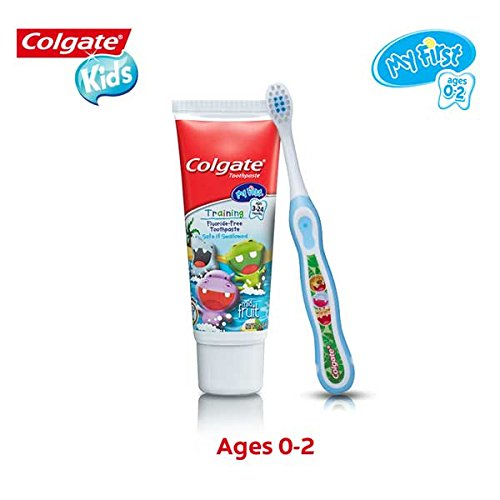 41ZjkQj0WXL - Colgate My First Baby And Toddler Toothbrush And Fluoride Free Toothpaste Set For Ages 0-2 Years