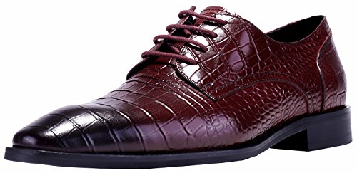 (ELANROMAN Men Oxfords Dress Shoes Crocodile Pattern Dress Shoes for Men Embossed Genuine Leather Shoes Wine Mens Derby Luxury Shoes US 10 EUR 43 Foot Length 306.66mm)
