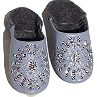 Fur Warm Winter Mules Fluffy leather Comfy, leather slippers, Women, Morooco babouche Gray
