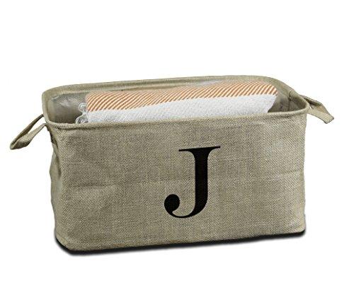 Urban Legacy Letter Initial Monogram Storage Basket Burlap Eco-Friendly Jute. Storage Bin Nursery, Beauty Products, Office Supplies, Gift Basket (J)