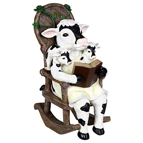 (Exhart Solar Cow Family Reading a Book on a Rocking Chair Garden Statue - Bookworm Cows Mini Figurine w/Solar LED Lights, Booklovers Cow Statue, Resin Cow Decorations, 5.9