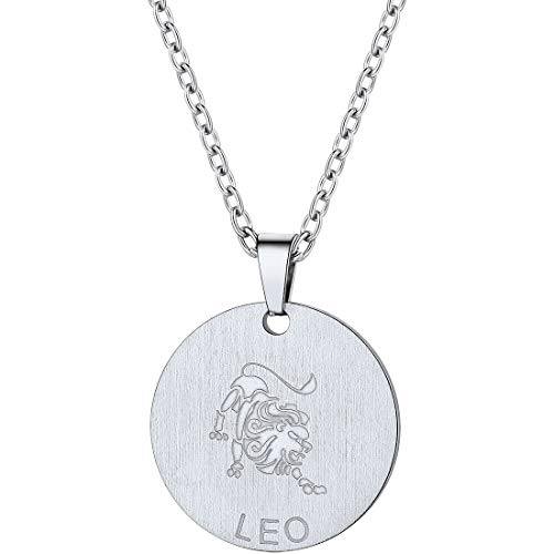 PROSTEEL Leo Zodiac Star Sign Coin Necklace Stainless Steel Constellation Horoscope Pendant Celestial Astrology Men Women Jewelry Birthday Gift