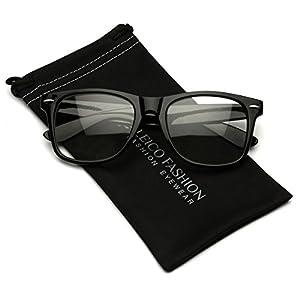 Iconic Square Horn Rimmed Clear Lens Retro Glasses (Black, 52)