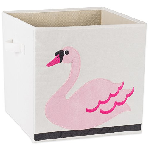 E-Living Store Collapsible Storage Bin Cube for Bedroom, Nursery, Playroom and More 13x13x13 - Swan