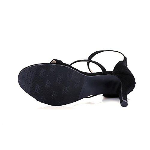 Odomolor Mujeres Puntera Abierta Tacón Alto Gamuza(Imitado) Sólido Cremallera Sandalia de Tacón Negro