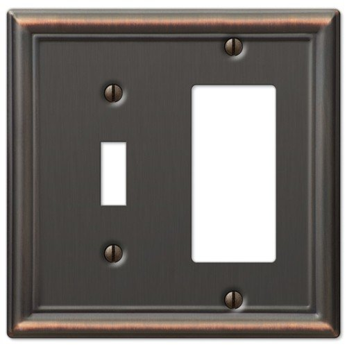 Decorative Wall Switch Outlet Cover Plates (Oil Rubbed Bronze, Toggle Rocker) ()