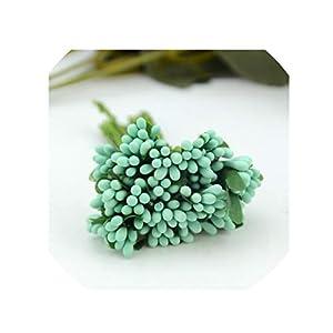 crystal004 12 Pcs Mini Mulberry Party Artificial Flower Stamen Wire/Wedding Stamen DIY Wedding Wreath Box Flower Decoration Fake Flower,Tiffany 37