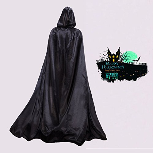 Wassup Scream Costume (Men's black Halloween party costume Godfather death coat Cape and Cape with hood. Overall length: 63 inches)