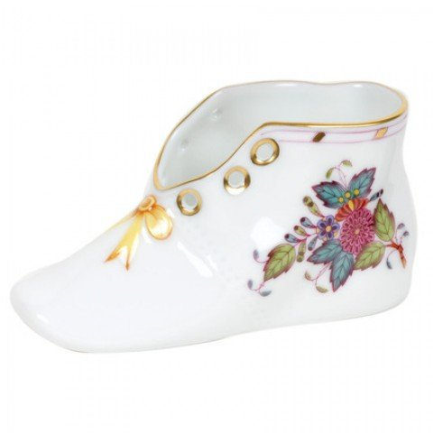 Herend Chinese Bouquet Multicolor Baby Shoe Pink Bow