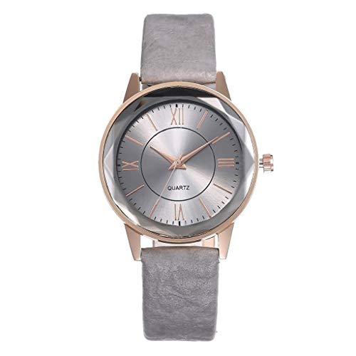 LUXISDE Watch Women Fashion Arabic Numerals Simple Ladies Prismatic Glass Quartz Watch Gray