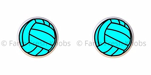 SET OF 2 KNOBS - Blue Volleyball Aqua Turquoise - Sports and Recreation - DECORATIVE Glossy CERAMIC Cupboard Cabinet PULLS Dresser Drawer KNOBS