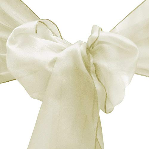 - Mikash 10/20/50/100 8x108 Organza Chair Cover Sash Ribbons Bow Wedding Banquet Decor | Model WDDNGDCRTN - 28301 | 100