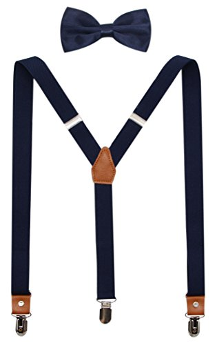 Suspenders And Pre-Tied Bowtie Set For Boys And Men By JAIFEI, Casual And Formal (Men(47 inches), Navy)]()