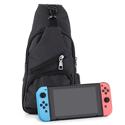Myriann Switch Backpack Crossbody Travel Bag For Console,Joy-cons and Accessories,Can Charge Your Phone Via Side USB Charging Interface-Black (Telephone Console)