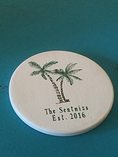 Palm Tree Nautical Personalized Coasters - Set of 4