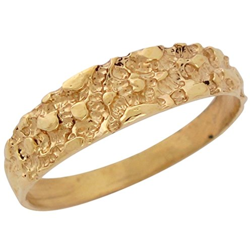 es Stylish Trendy High Polish Gold Nugget Design Ring (10k Solid Gold Ladys Ring)