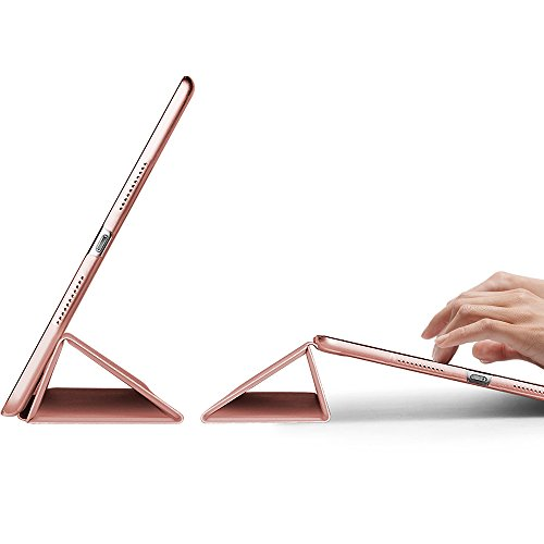 ESR iPad Pro 10.5 Case, Lightweight/Pretty Color Smart Trifold Stand Case with Frosted Semi Transparent Plastic Back Cover for iPad Pro 10.5 inch 2017 Released (Rose Gold)