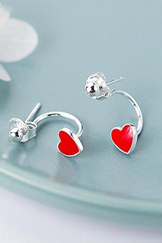 s925 Silver Stud Earrings earings Dangler Eardrop Women Girls Woman Gift red Heart-Shaped Peach Drops Enamel Jewelry Sweet Love