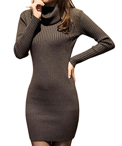 Oberora-Women Slim Fit Knitted Long Sleeve Cowl Neck Pullover Sweater Dress Deep Gray L