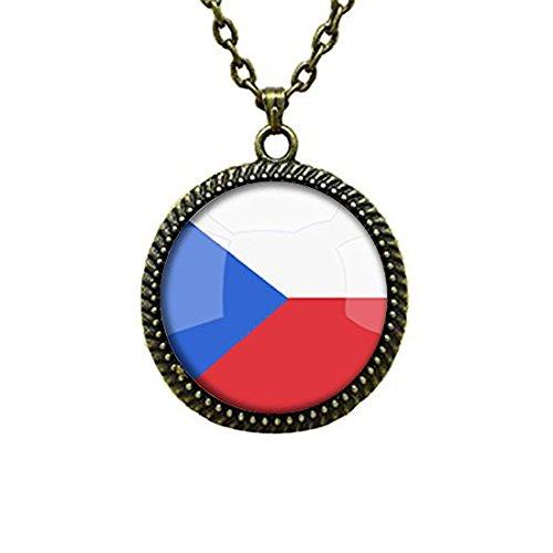 LEO BON Glass Cabochon Pendant Necklace The Czech Republic National Flag Vintage Chain Circle Bronze Bead Choker Healing ()