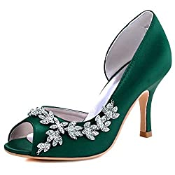 Dark Green Heels Peep Toe Shoe With Rhinestones