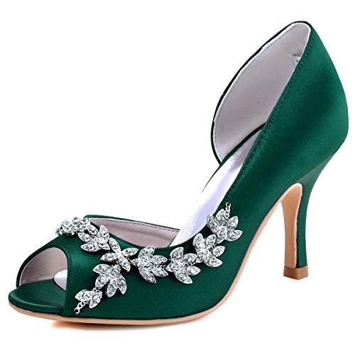 ElegantPark Wedding Heels Peep Toe Wedding Shoes for Bride High Heels Rhinestones Bridal Shoes Satin Evening Party Prom Dress Shoes Pumps