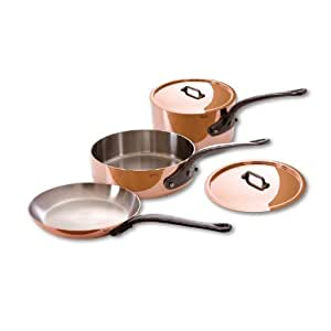 Mauviel Made In France M'Heritage Copper M250C 6501.00 5-Piece Copper Cookware Set, Cast Iron Handle