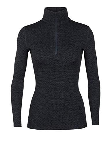 (Icebreaker Merino Women's 250 Vertex Long Sleeve Half Zip Mountain Dash Base Layer Tops, Large, Jet Heather/Black)