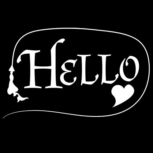 Creative Concept Ideas Hello with Heart Renaissance Scipt CCI Decal Vinyl Sticker|Cars Trucks Vans Walls Laptop|White|5.5 x 3.5 in|CCI2267