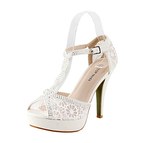 TOP Moda JJF Shoes HY-5 Open Toe Crochet High Heel Sandals, White 8