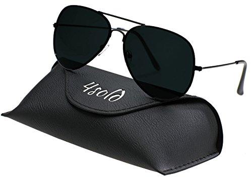 Protección 4sold sol Aviador conducción de Black UV Hombre de gafas 400 con caso polarizado el Black qHwqfxOC