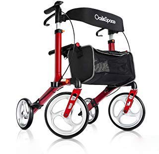 OasisSpace Aluminum Rollator Walker, with 10'' Wheels and Seat Compact Folding Design Lightweight Baking Complimentary Carry Bag (Red) Aluminum 4 Wheeled Rollator