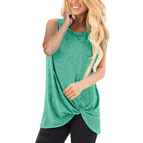 HIRIRI Summer Soft Loose Women's Tops Twist Knotted Blouses Sleeveless Round Neck Tunic T Shirt H-Green