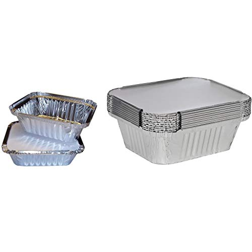 Zcuhen Aluminum Foil Pans with Lids, Baking Pans, 50 Pack Square Disposable Takeout Containers with Foil Lids, Food Containers for Baking, Cooking, Heating, Storing, Prepping Food