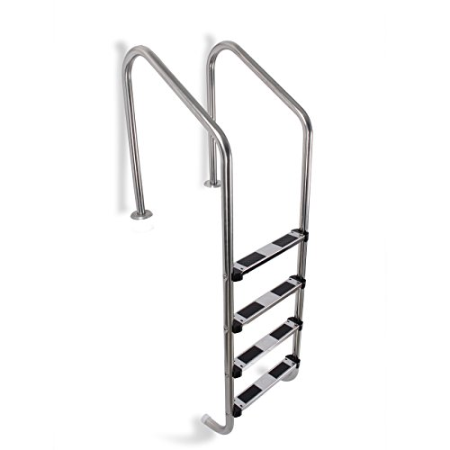 - ARKSEN Deluxe 4-Step Pool Ladder Swimming Pool w/Non Skid Steps in-Ground in-Pool Handrails, Stainless Steel