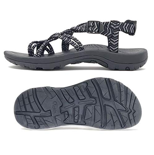 Viakix Walking Sandals Women -Stylish Comfortable Athletic Sandals for Hiking, Water, Outdoors, Sports Black