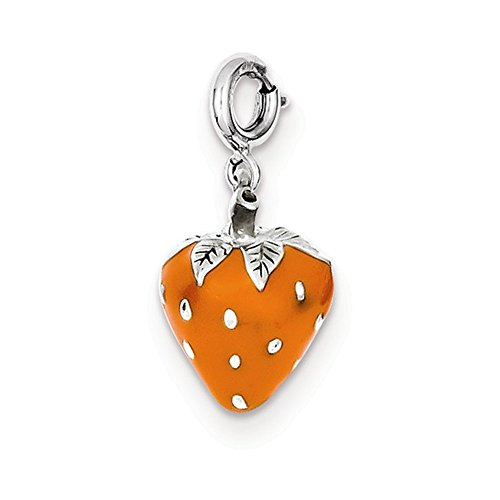 Jewelry Adviser Charms Sterling Silver Enameled Strawberry Charm ()