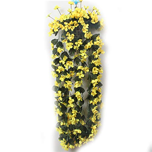 YTADF5E Violet Artificial Flower Decoration Simulation Valentine's Day Wedding Wall Hanging Flower Orchid Silk Fake Flower,Yellow