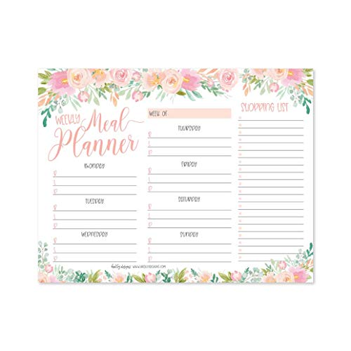 Pink Floral Weekly Meal Planning Calendar Grocery Shopping List Magnet Pad for Fridge, Magnetic Family Pantry Food Menu Board Organizer, Week Diet Prep Planner Tool, Refrigerator Eat Dinner Notepad