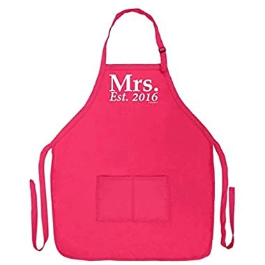 Wedding Shower Gift Mrs. Established 2016 Husband and Wife Funny Apron for Kitchen BBQ Barbecue Cooking Baking Grilling Bacon Two Pocket Apron for Bride and Groom Heliconia