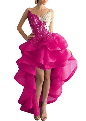 Lo Hi Kleider Ballkleid Asymmetrisch Abendkleider Heimkehr Beyonddress Damen Organza Fuchsie Partykleid wzxqOPR5E