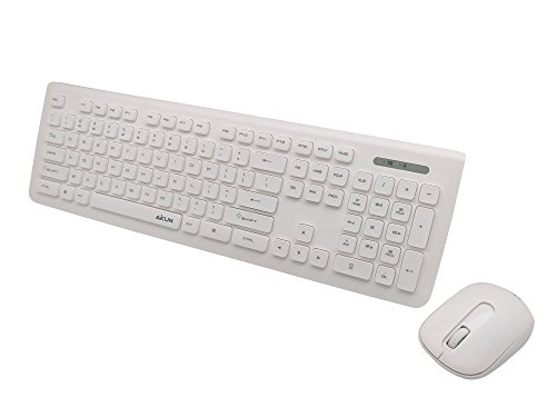 AIKUN BX6200-2.4Ghz wireless keyboard and mouse combo,thin profile white keyboard and sleek white mouse,104 Floating Chocolate Buttons,automatically save power sleeping function