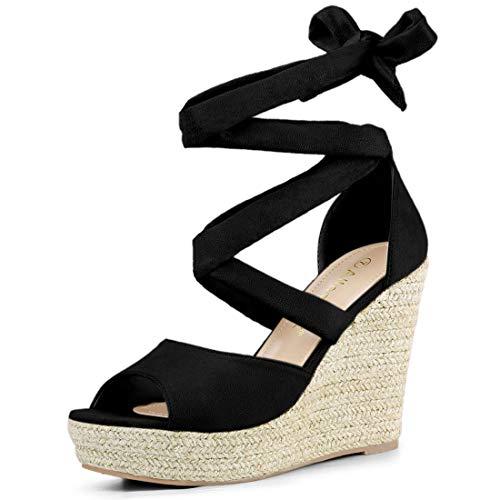 Allegra K Women's Lace Up Espadrilles Wedges Black Sandals - 7.5 M US ()