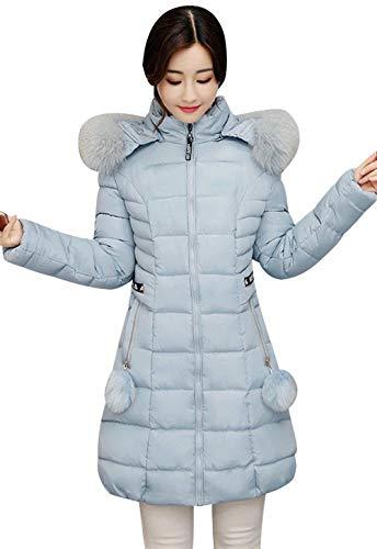 Con Abbigliamento Giaccone Manica Cappuccio Donna Caldo Giubotto Tasche Giacca Invernali Cerniera Slim Fit Monocromo Skyblue Laterali Piumino Lunga qzx5aHx