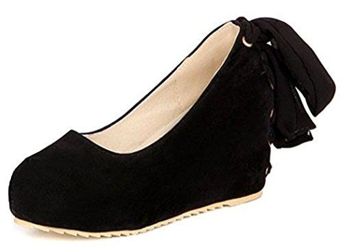 IDIFU Womens Sweet Slip On Shoes Heighten High Heel Wedge Platform Pumps With Bow Black 2HPd6Ph