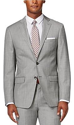 Calvin Klein Slim-Fit Light Grey Textured Wool 2 Button New Men's Sport Coat