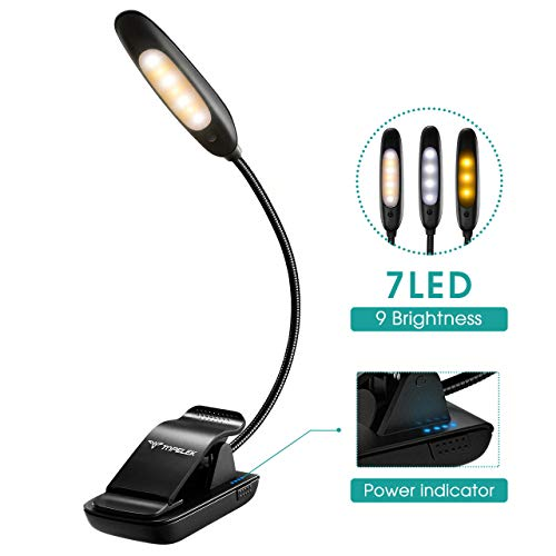 Mini Clamp Lamp (TopElek Reading Light, 7 LED Book Light with 9-Level Warm/Cool White Brightness, USB Rechargeable, Eye Care Lamp with Power Indicator, Perfect for Bookworms, Kids)
