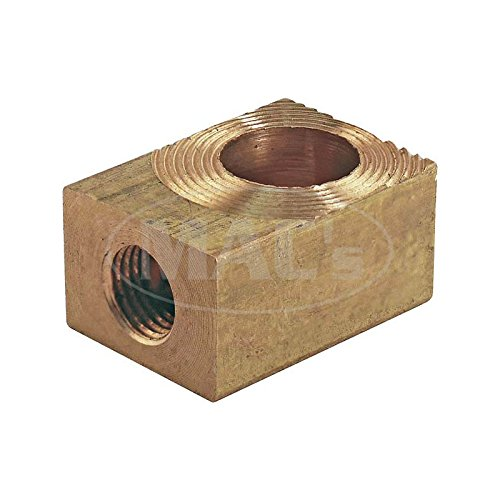 MACs Auto Parts 49-25188 Master Cylinder Outlet Fitting Block - Brass Block - Ford &Mercury (Ford Brass Fittings)
