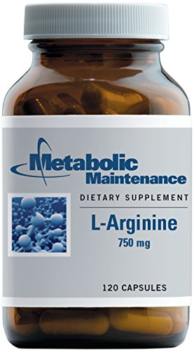 Metabolic Maintenance L-Arginine - Pure 750 mg No Fillers, Amino Acid for Cardiovascular Support (120 Capsules)