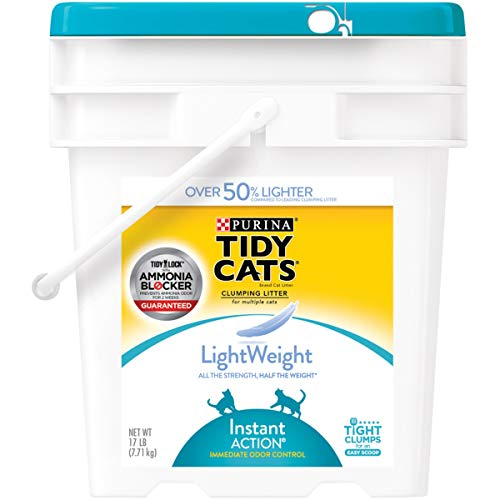 (Purina Tidy Cats LightWeight Instant Action Multiple Cats Clumping Dust Free Cat Litter - 17 lb. Pail. Premium Pack)